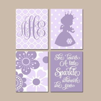 PRINCESS Wall Art, CANVAS or Prints, Baby Girl Nursery Decor, Girl Monogram, Princess Nursery, Purple Princess Birthday Decor, Set of 4