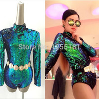 2015 Newest style female singer DS costumes DJ bar laser ultra long-sleeved backless green sequined bodysuit jazz dance clothing