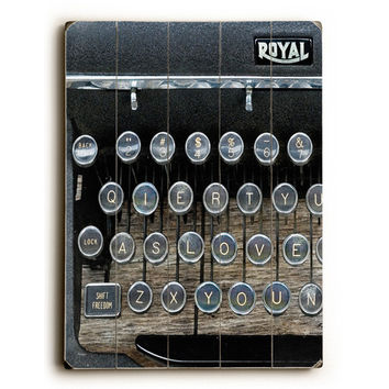 Royal Typewriter by Artist Lisa Weedn Wood Sign