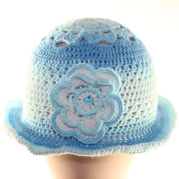 Blue white Baby Hat / Hand Crochet Hat / hat for girl / Crochet Hat with flower / Baby Hat / summer crocheted baby hat / gift under 35
