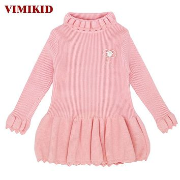 VIMIKID 2017 Winter Girls Sweater Dresses Warm Long Sleeve Turtleneck Dress for Baby Girls Children Thick Sweaters Clothing