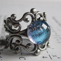 Hydrogen - Filigree Ring - science jewelry - physics jewelry - galaxy jewelry - nebula ring - filigree jewelry - galaxy ring - science ring