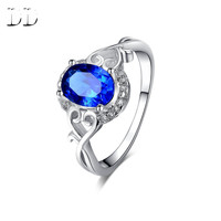 white gold plated ring for women blue sapphire jewelry accessories wedding engagement Cubic Zircon diamond romantic style DD156