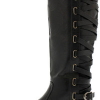 CHICK1 BLACK LACE UP BACK KNEE HIGH BOOT