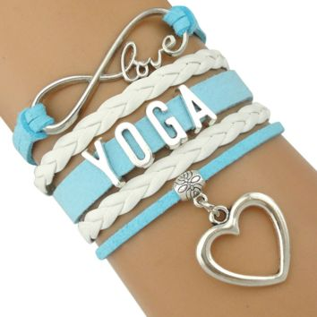 Multilayer Heart Charm Yoga Leather Bracelet-Funky Addition for a Casual Day