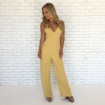 Day Job Linen Jumpsuit in Mustard
