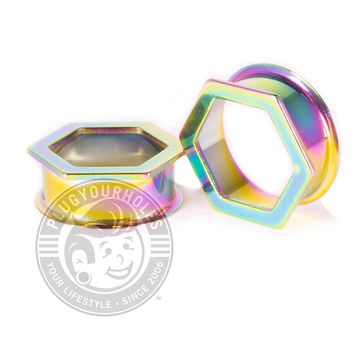 Oil Slick Hexagon Double Flared Steel Tunnels