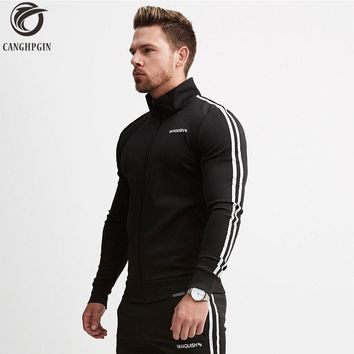 Brand Running Jacket Men Sports Fitness Long Sleeves Hooded Sweatshirts Striped Zipper Hoodies Men Gym Training Run Coat Jackets