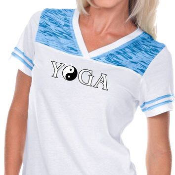 Yoga Clothing For You Yin Yang Yoga Text Burnout V-neck Football Yoga Tee Shirt