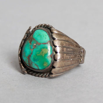 60s TURQUOISE STERLING RING / Boho Chunky Silver Old Pawn Ring