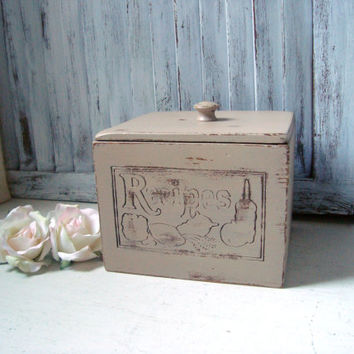 Shabby Chic Vintage Recipe Box, Tan Wooden Storage Box, Divided Recipe Card Holder, Distressed Box, Engraved Wooden Box, Gift Ideas