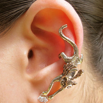 Angel Kitty Ear Cuff Bronze