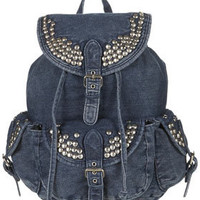 Studded Denim Backpack - Bags & Purses  - Accessories