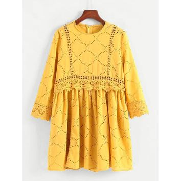 Lace Panel Embroidered Eyelet Dress