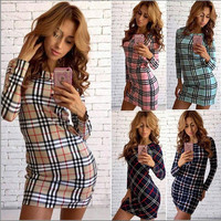 Fashion NEW autumn winter women sexy high quality plaid printing office dress Casual Party Bodycon package hip Sheath Dress