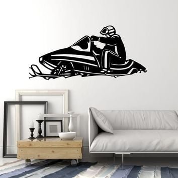 Vinyl Wall Decal Snowmobile Winter Travel Sports Race Stickers Mural Unique Gift (ig2286)