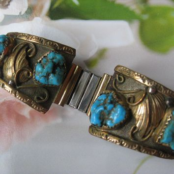 Native American Sterling Gold Fill Watch Band Tips Navajo Wil & Vira Yazzie