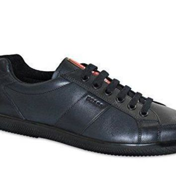 Prada Men's Vitello Calfskin Leather Lace Up Sneaker Deep Blue 4e2845
