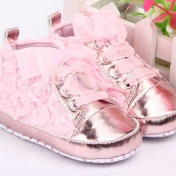 Baby Girls Toddler Shoes Rose Lace Soft Bottom Princess High Shoes First Walkers