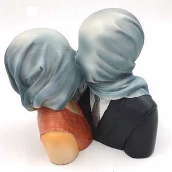 Magritte Lovers with Covered Heads Les Amants Surrealism Statue 4.75H