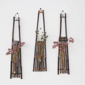 Bamboo hanging vase for flowers pots stands Wedding  decoration Home decor Outdoor wall vase Ornaments for the home wooden