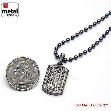 Jewelry Kay style Men's Hip Hop Iced Out Dog Tag Pendant Hematite Ball Chain Necklace MMP 807 HE