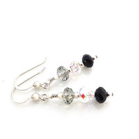 Black Dangle, Everyday Earring, Ombre, Black and White, Swarovski Crystal