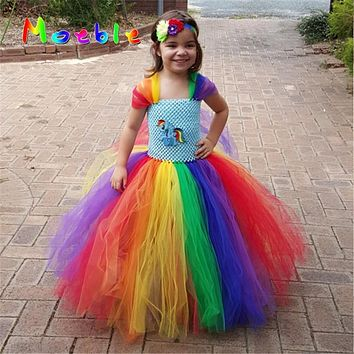 Little Horse Children Girls Rainbow Tutu Dress Kids Birthday Wedding Photo Tulle Tutu Dresses Baby Girls Halloween Xmas Costume