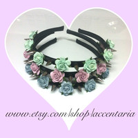 Mini roses spiked headband (choose your rose color)