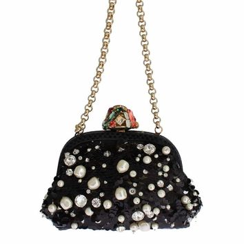 Dolce & Gabbana MISS DEA Bag Snakeskin Pearl Crystal Purse Clutch