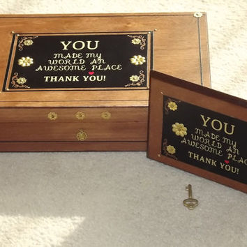 Thank You Gift Set. LOCKABLE WOODEN B0X. With matching plaque. Very Unique. Can be PERSONALISED. Mothers Day Gift. Birthday. Gift.