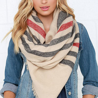 Weaving Path Beige Striped Scarf