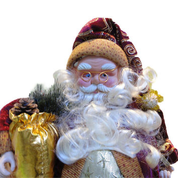 Hot Sale High Quality 35cm Christmas Sitting Santa Claus Doll Figurine Toy Home Room Ornament Decoration Decor Great Gift