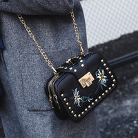 Rivet Chain Design Floral Embroidery Crossbody Bags Women Bag Flap Messenger
