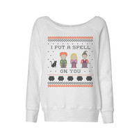 Wideneck -  I Put a Spell on You Hocus Pocus - Halloween Sweater  Oversized Sweatshirt Pullover Ladies Womens Slouchy Outfit