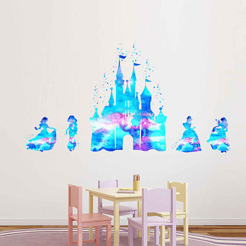 kcik1972 Full Color Wall decal Watercolor Character Disney Castle Disney Princesses Snow White Princess Jasmine Cinderella Aurora
