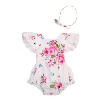 2017 Floral Newborn Infant Baby Clothes Ruffles Back Strap Tutu Skirted Romper Jumpsuit +Headband 2PCS Outfit Sunsuit Clothing
