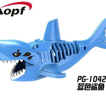 Single Sale Ghost Zombie Blue Shark Jack Sparrow Pirates of the Caribbean Building Blocks Collection Toys for children PG1042