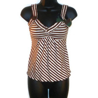 Brown and White Striped Military Inspired Summer Tank Top Womens Clothing Small