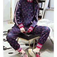GUCCI Popular Leisure Long Sleeve Shirt Sweater Pants Sweatpants Set Two-Piece Sportswear Navy Blue I-AF-MMOH
