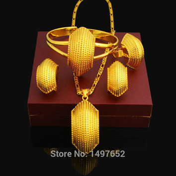 New Ethiopian Snail Desigh Jewelry Set 24K Gold Plated Necklace/Pendant/Earring/Ring/Bangle African Wedding Jewelry