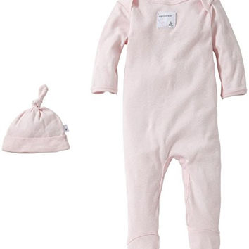Burt's Bees Baby Girls Bee Essentials Coverall and Knot Top Hat Set Blossom 3M