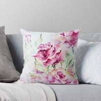 'Purple Roses' Throw Pillow by AdrianaMijaiche