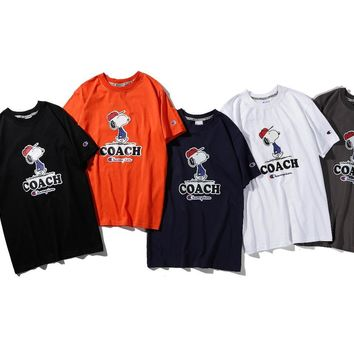 hcxx 1110 Champion Snoopy LOGO COACH Casual T-shirt with round collar and short sleeves