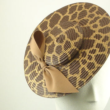 Saucer Hat for Women 1920s Fashion Hat Brown Hand Painted Giraffe Pattern Fascinator