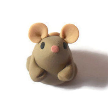 Sale! Little tan mouse miniature totem polymer clay figure.