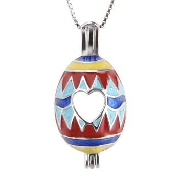 925 Sterling Silver Easter Egg Pearl Cage Pendant