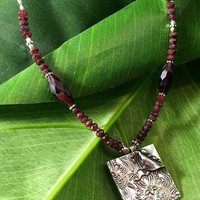 Garnet Necklace - Silver Garnet Necklace - January Birthstone - Handmade - Pendant Necklace - Unique - Handcrafted