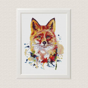 Fox Cross Stitch Pattern Watercolour fox cross stitch Cool Funny cross stitch pattern modern woodland Animal  crossstitch PDF