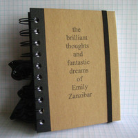 Custom Name Journal Notebook Brilliant Handmade Paper by zany